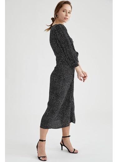 DeFacto Gömlek Tasarımlı Relax Fit Midi Elbise Siyah